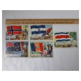 (5) 1956 Topps Flags of the World Trading Cards