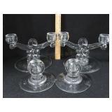 2 Pr Antique Crystal Candlesticks