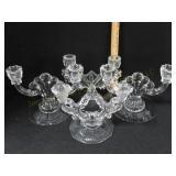 4 Pr Antique Crystal Candlesticks