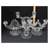 4 Antique Crystal Candelabras