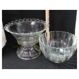 2 Punch Bowls. One Has Small Crack