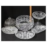 6pc Cut Glass Inc. Butter Dish, Compote, & Relish