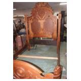 Tall Victorian Walnut Panel Bed, Headboard 54x73,