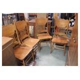 4 Oak Press Back Chairs 18.5x17.5x43