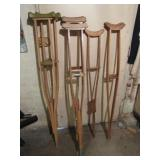 (4) Pairs of Wooden Crutches