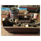 Plastic Caddy w/Misc PVC Pieces & Brass Fittings