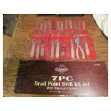 (7) PC Cummins Brad Point Drill Bit Set, Titanium
