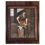 Framed Blacksmith Painting