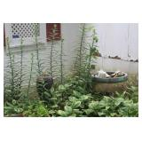 Concrete Birdbath w/ Seashells, Plant Stand, & Owl