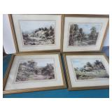 Four vintage framed pastoral prints