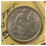 US Coins 1872-S Half Dime AU