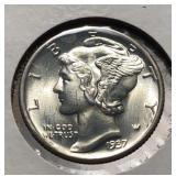 US Coins 1937 Mercury Dimes BU