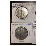 US Coins 4 Walking Liberty Halves AU/BU