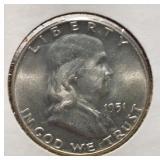 US Coins 1951 Franklin Half BU