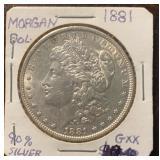 US Coins 1881 Morgan Silver Dollar Circulated
