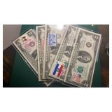 US Paper Money 5 X $2 Notes with stamps