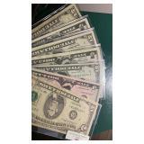 US Paper Money 8 X $5 Modern Notes