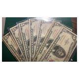 US Paper Money 7 X $5 1963 Red Seal Notes