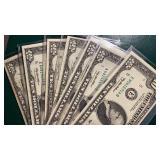 US Paper Money 7 X $10 Bills 1970s-90s