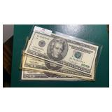 US Paper Money 3 X $20 Notes 1999 Star