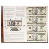 US Paper Money Uncut 4 X $10 Notes