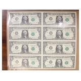 US Paper Money Uncut 8 X $1 Notes