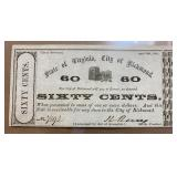 Virginia Obsolete Currency $0.60 Richmond Note TR0