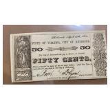 Obsolete Currency $0.50 Richmond Note TR06-11 Arro