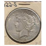 US Coins 1922-S Peace Silver Dollar Circulated