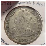 Mexico Coins 8 Reales 1786 W/Chop Marks