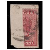 Antigua Stamps #8a Used Bisect on piece 1873