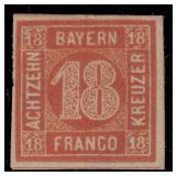 German States Bavaria Stamps #14 Mint OG CV $900