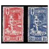 New Zealand Stamps #B3-B4 Mint HR VF CV $200