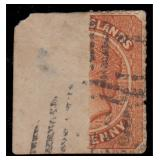 Turks Islands Stamp #44a Used Bisect on piece 1883
