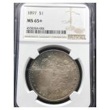 0US Coins 1897 MS-65+ $1 Morgan Rainbow Toning