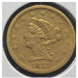 US Coins 1853 $2.50 Liberty Gold Quarter Eagle