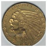US Coins 1914-D $5 Indian Gold  Half Eagle
