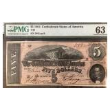 US Paper Money 1864 CSA $5 T-69 MS-63