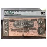 US Paper Money 1864 CSA $10 T-68 MS-62