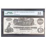 CSA $100 1862 Banknote T-39 PMG Graded AU55