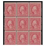 US Stamps #505 Block of 9 NH CV $1000