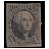 US Stamps #2 Used Red cancel thins 1847 CV $775