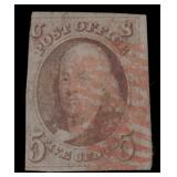 US Stamps #1 Used Red cancel thins 1847 CV $350