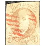 US Stamps #1 Used Red cancel tear 1847 CV $350