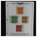 US Stamps #803-831 Mint NH Plate Blocks on pages