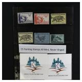US Stamps Hunting Stamps 15 Different