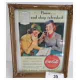 Vintage Coca-Cola advertisement framed