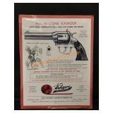 Vintage Kilgore Lone Ranger Cap Gun Paper Sign