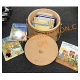 Wooden bucket & children books