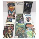 Assorted comics DC lot of 9 Batman Superman aqua
